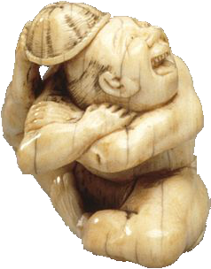 Japanese netsuke of contortionist, LACMA