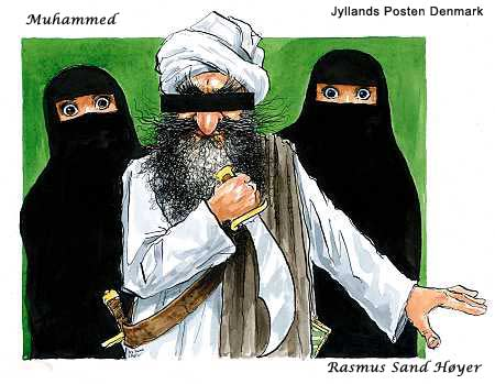 cartoon by Rasmus Sand Hoyer, two Muslim women whose eyes only are visible, looking horrified, and a Muslim man with a black rectangle blinding his vision.