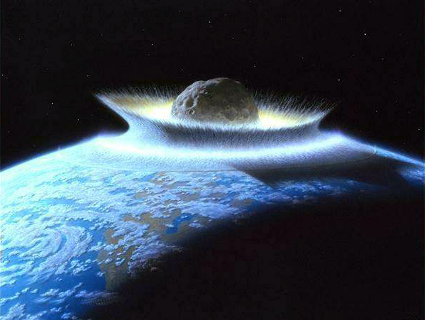 NASA artist's conception of asteroid destroying Earth