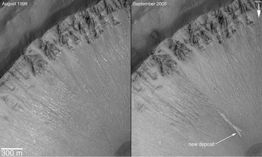the same crater on Mars, dry in August 1999, and with a frozen water seep in September 2005