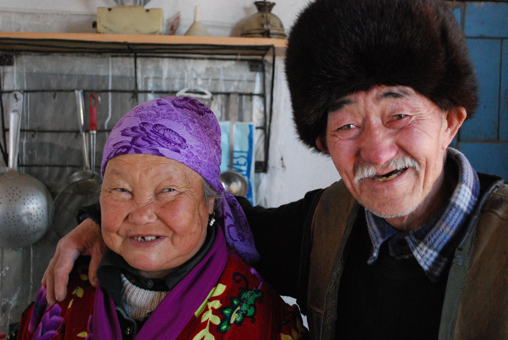 Happy elderly Siberian couple, photographer unknown