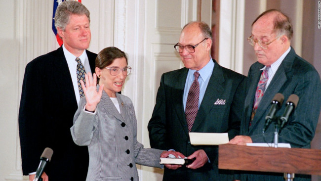 Ruth Bader Ginsburg being sworn in