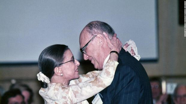 Ruth Bader Ginsburg at a social event with her husband, Marty Ginsburg.