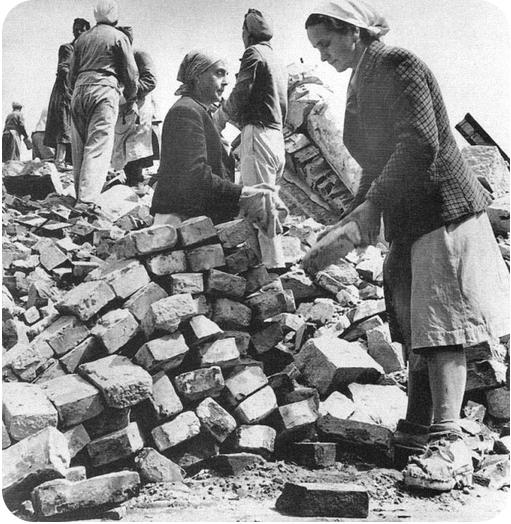 women rebuilding Berlin, brick by brick, after enduring bombing for years