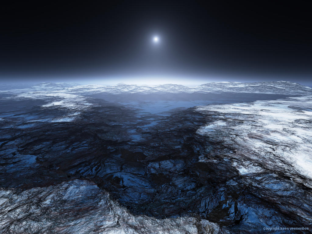 Rendering of Europa, an icy moon of Jupiter, by Kees Veenenbos, based on data from the Voyager Imaging Team